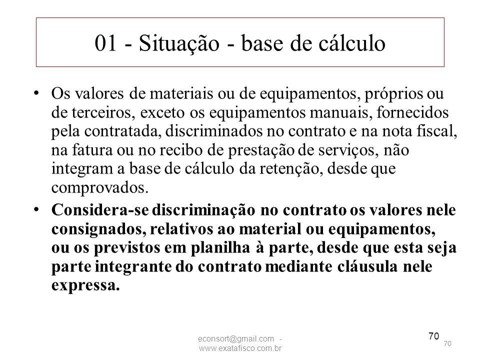 70 01 - Situação - base de cálculo Os valores de materiais ou de equipamentos, próprios ou de terceiros, exceto os equipamentos manuais, fornecidos pe