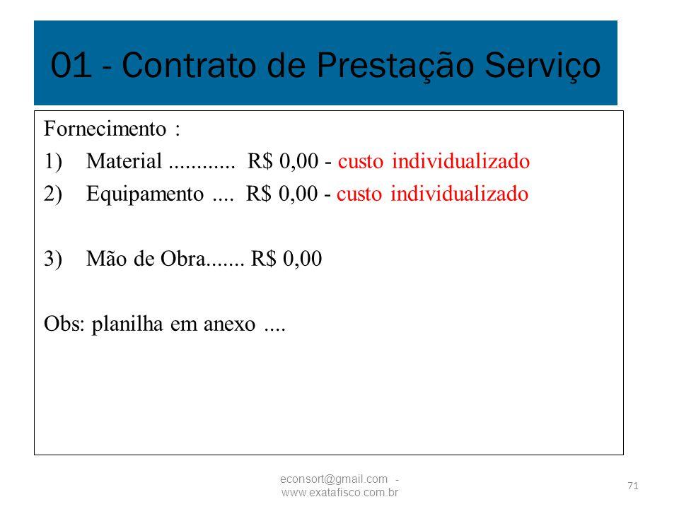 71 01 - Contrato de Prestação Serviço Fornecimento : 1)Material............ R$ 0,00 - custo individualizado 2)Equipamento.... R$ 0,00 - custo individu