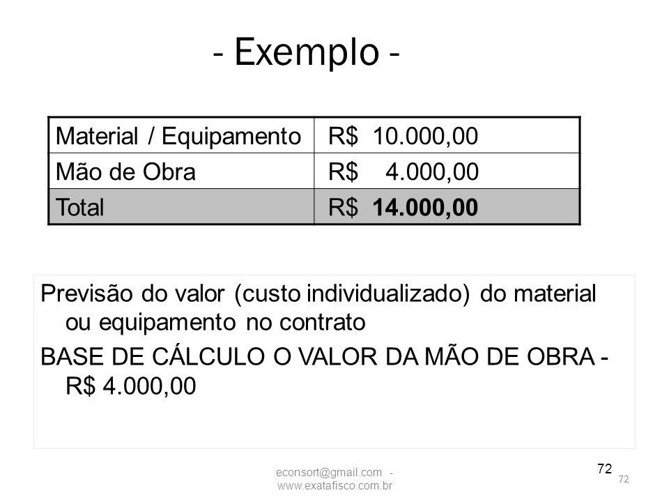 72 - Exemplo - Previsão do valor (custo individualizado) do material ou equipamento no contrato BASE DE CÁLCULO O VALOR DA MÃO DE OBRA - R$ 4.000,00 M