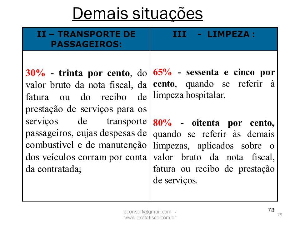 78 Demais situações II – TRANSPORTE DE PASSAGEIROS: III - LIMPEZA : 30% - trinta por cento, do valor bruto da nota fiscal, da fatura ou do recibo de p