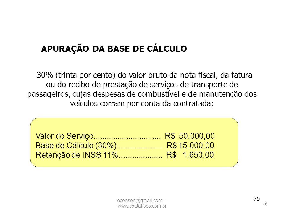79 30% (trinta por cento) do valor bruto da nota fiscal, da fatura ou do recibo de prestação de serviços de transporte de passageiros, cujas despesas
