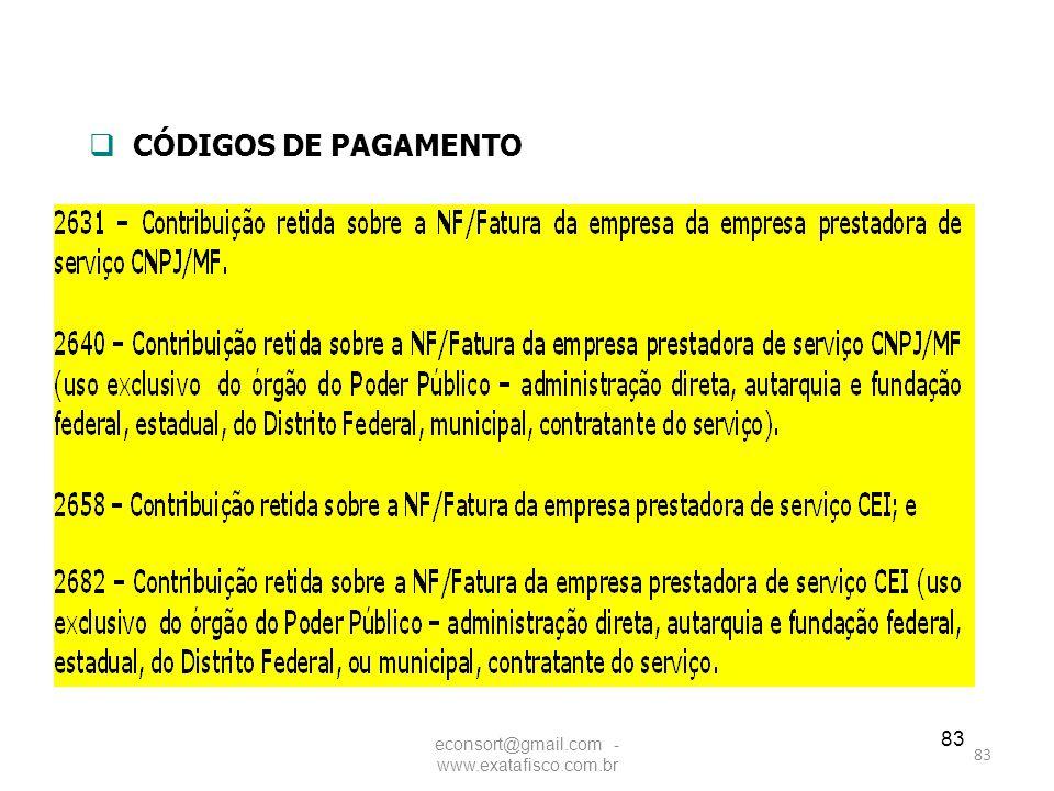83  CÓDIGOS DE PAGAMENTO econsort@gmail.com - www.exatafisco.com.br