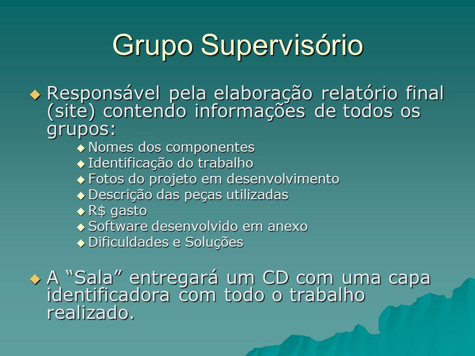 Grupo Supervisório  Responsável pela elaboração relatório final (site) contendo informações de todos os grupos:  Nomes dos componentes  Identificaç