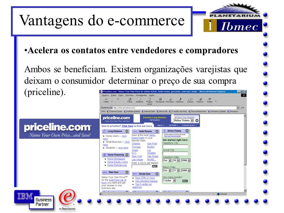 Vantagens do e-commerce Amplia a cobertura geográfica dos mercados Assim como CD ROMs que já causaram estragos para vendedores a longa distância, agora serão mais do que superados pelo acesso à Internet.