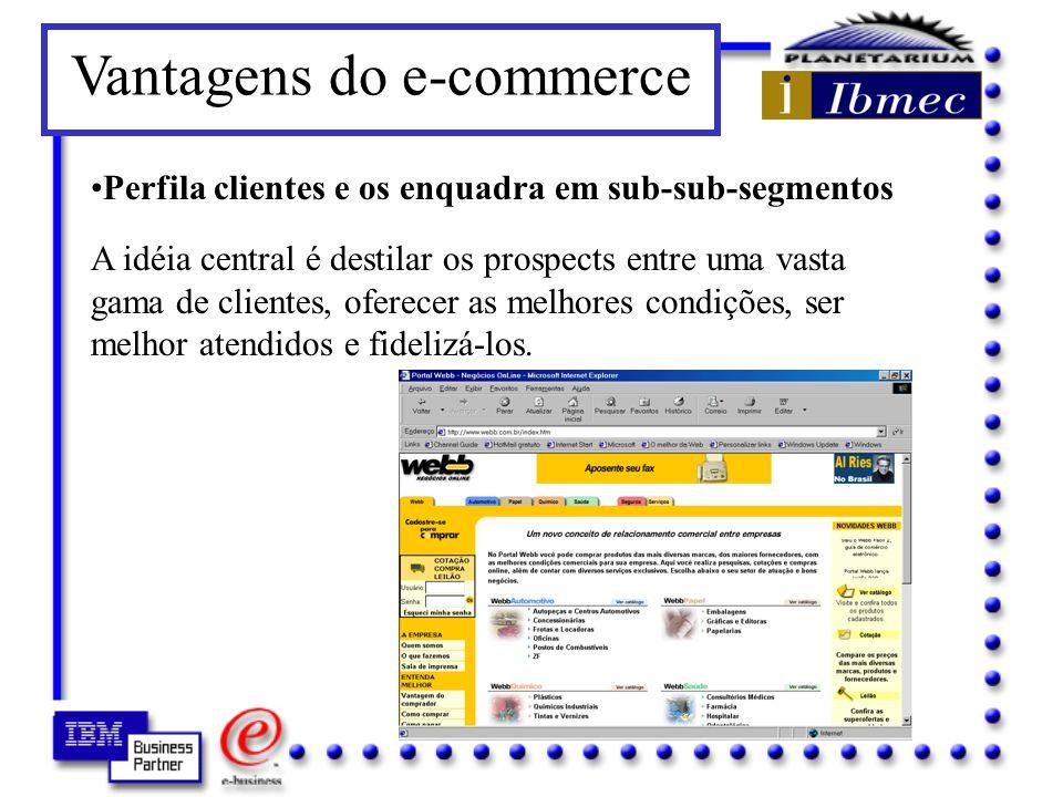 Vantagens do e-commerce Acelera os contatos entre vendedores e compradores Ambos se beneficiam.