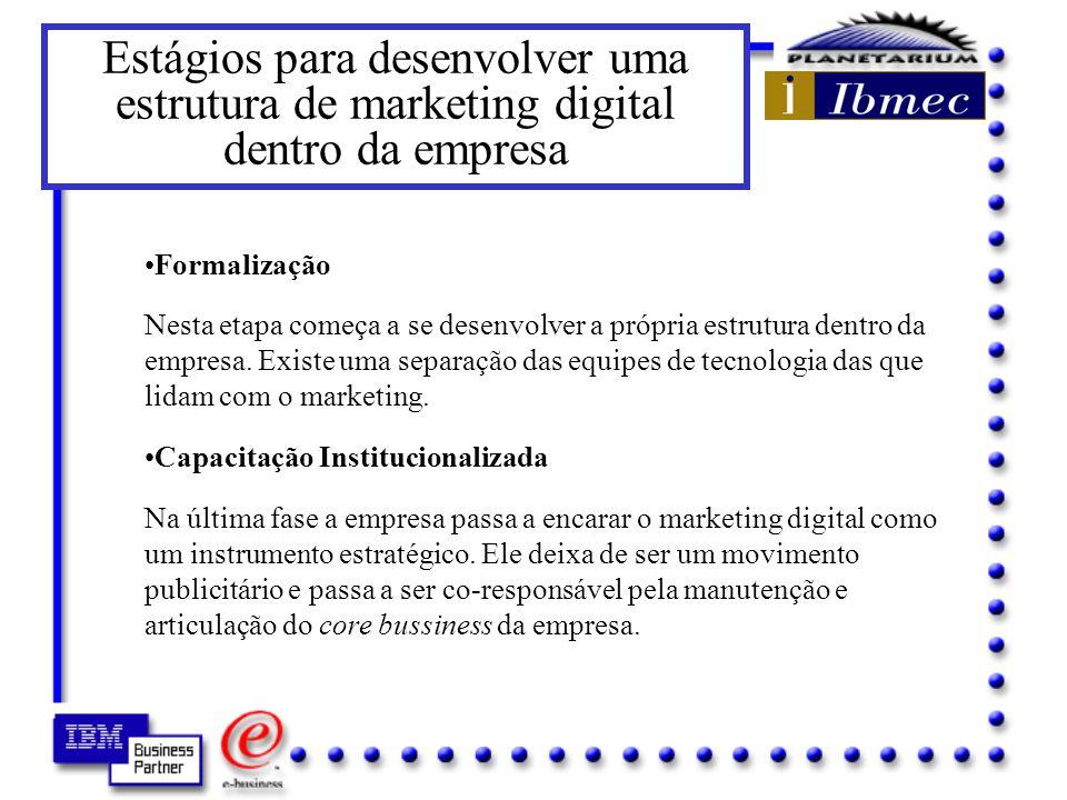 Estágios para desenvolver uma estrutura de marketing digital dentro da empresa Atividade ad hoc Nesse estágio as empresas estabelecem uma presença básica no seu sistema on line sem um esforço formal de organização, que é frequentemente dirigida por voluntários.