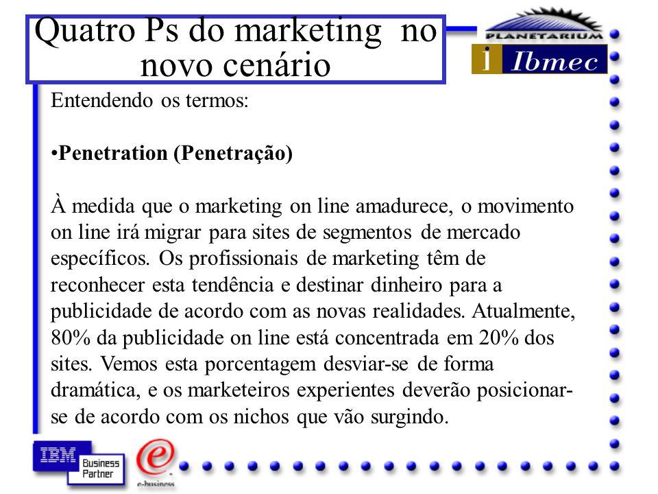 Os quatro Ps do marketing tradicional Num mundo onde as novas tecnologias permitem o desenvolvimento de novos modelos de negócios, - Price (Preço) - Product (Produto) - Promotion (Promoção) - Placement (Ponto) Abrem espaços para as forças do marketing digital, criando riscos e oportunidades.