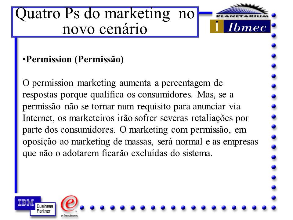 Quatro Ps do marketing no novo cenário Entendendo os termos: Penetration (Penetração) À medida que o marketing on line amadurece, o movimento on line irá migrar para sites de segmentos de mercado específicos.