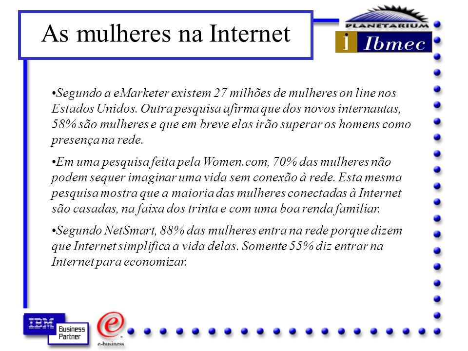 Segundo a eMarketer existem 27 milhões de mulheres on line nos Estados Unidos.