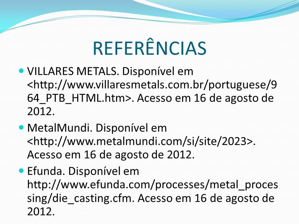 REFERÊNCIAS VILLARES METALS. Disponível em. Acesso em 16 de agosto de 2012. MetalMundi. Disponível em. Acesso em 16 de agosto de 2012. Efunda. Disponí