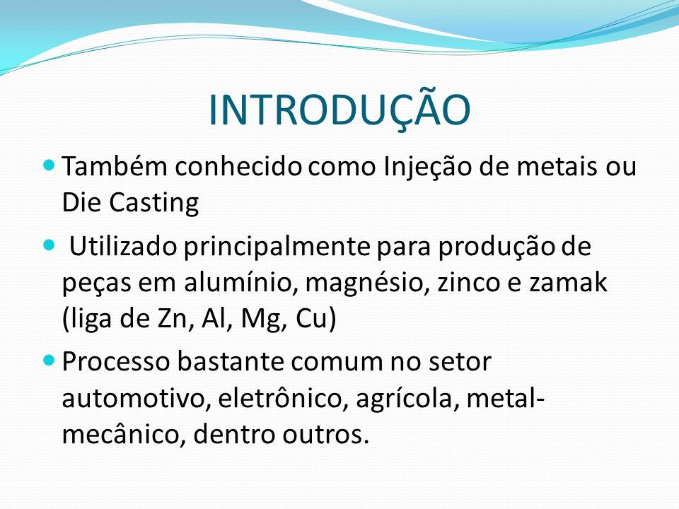 INTRODUÇÃO Também conhecido como Injeção de metais ou Die Casting Utilizado principalmente para produção de peças em alumínio, magnésio, zinco e zamak