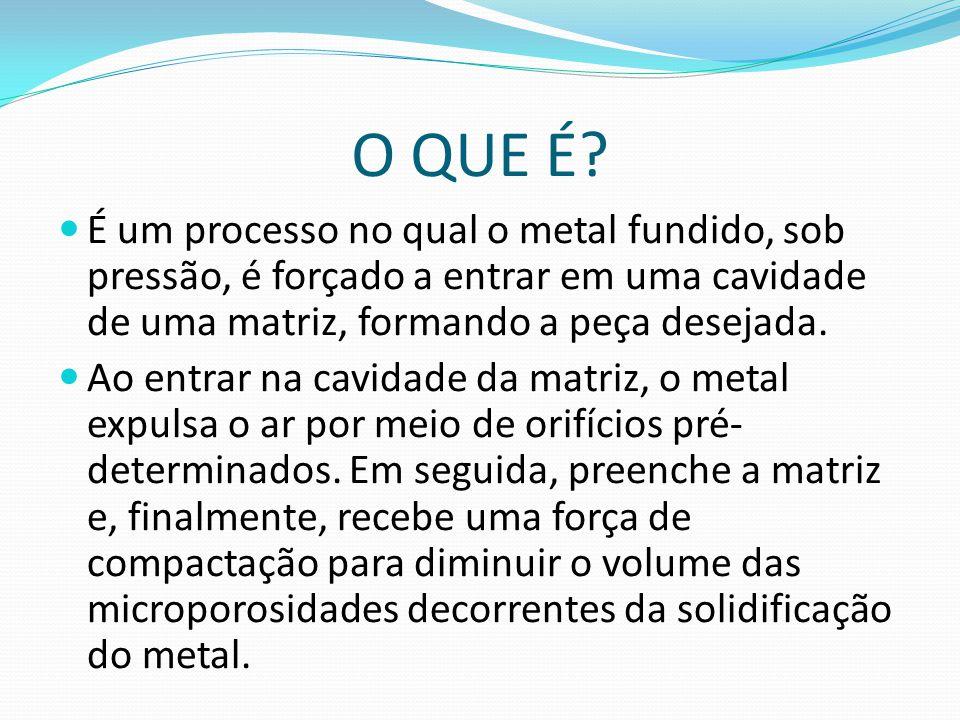 O QUE É? É um processo no qual o metal fundido, sob pressão, é forçado a entrar em uma cavidade de uma matriz, formando a peça desejada. Ao entrar na