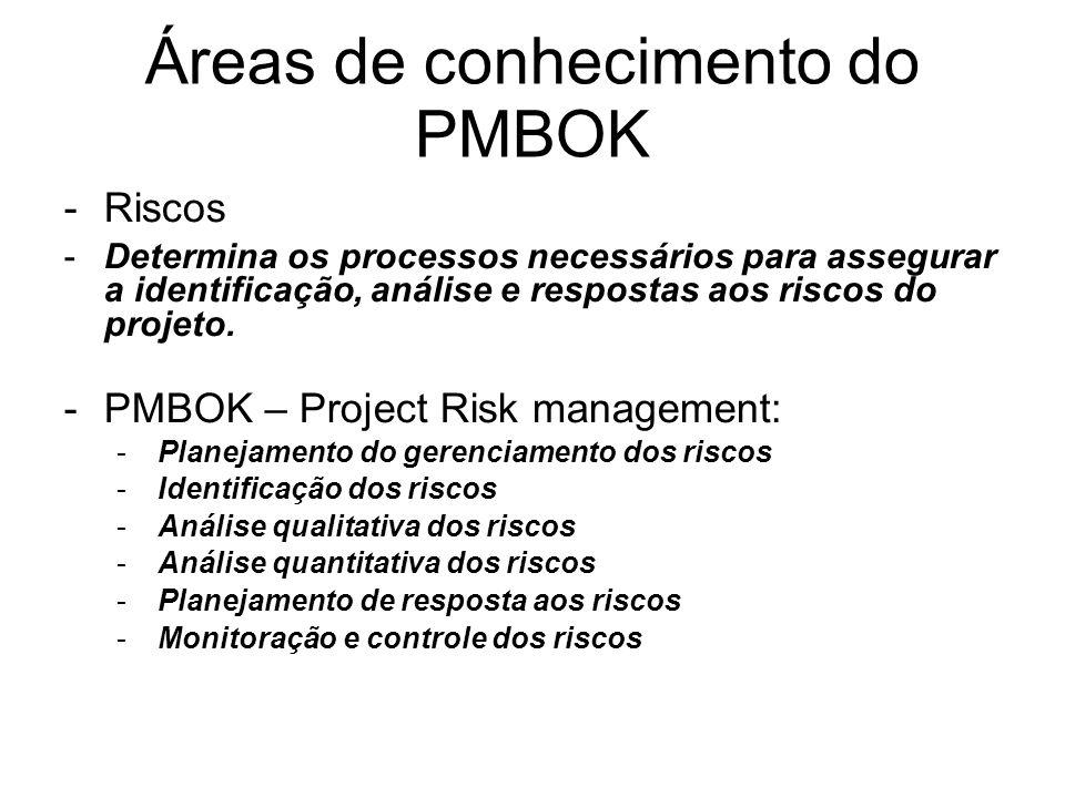 -Riscos -Determina os processos necessários para assegurar a identificação, análise e respostas aos riscos do projeto. -PMBOK – Project Risk managemen