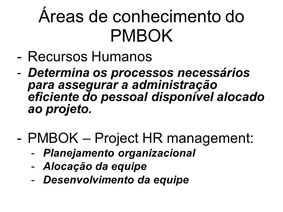 Áreas de conhecimento do PMBOK -Recursos Humanos -Determina os processos necessários para assegurar a administração eficiente do pessoal disponível al
