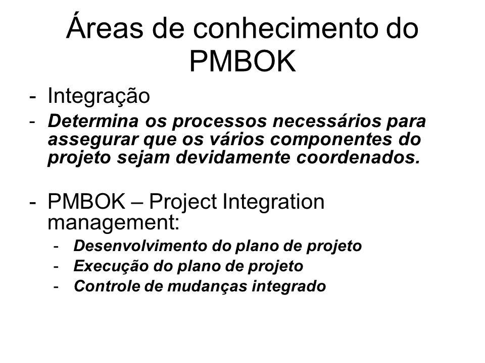 Áreas de conhecimento do PMBOK -Integração -Determina os processos necessários para assegurar que os vários componentes do projeto sejam devidamente c