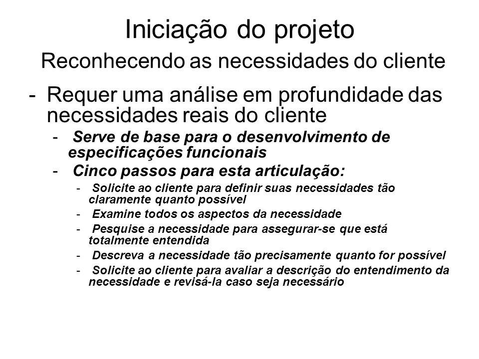 -Requer uma análise em profundidade das necessidades reais do cliente - Serve de base para o desenvolvimento de especificações funcionais - Cinco pass