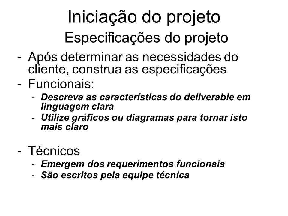 -Após determinar as necessidades do cliente, construa as especificações -Funcionais: -Descreva as características do deliverable em linguagem clara -U