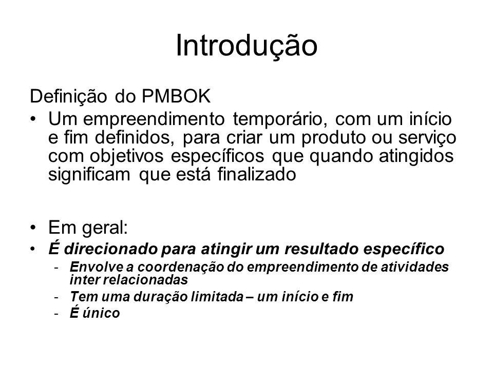 Definição do PMBOK Um empreendimento temporário, com um início e fim definidos, para criar um produto ou serviço com objetivos específicos que quando