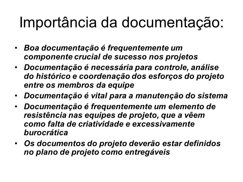Importância da documentação: Boa documentação é frequentemente um componente crucial de sucesso nos projetos Documentação é necessária para controle,