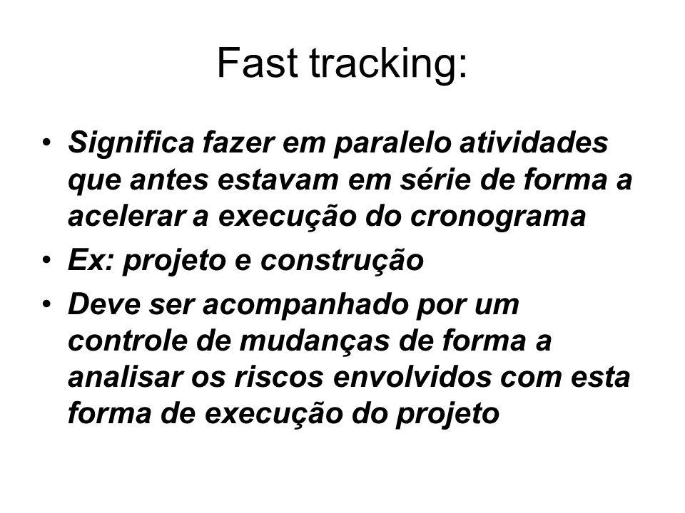 Fast tracking: Significa fazer em paralelo atividades que antes estavam em série de forma a acelerar a execução do cronograma Ex: projeto e construção Deve ser acompanhado por um controle de mudanças de forma a analisar os riscos envolvidos com esta forma de execução do projeto