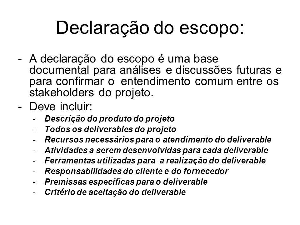 Declaração do escopo: -A declaração do escopo é uma base documental para análises e discussões futuras e para confirmar o entendimento comum entre os stakeholders do projeto.