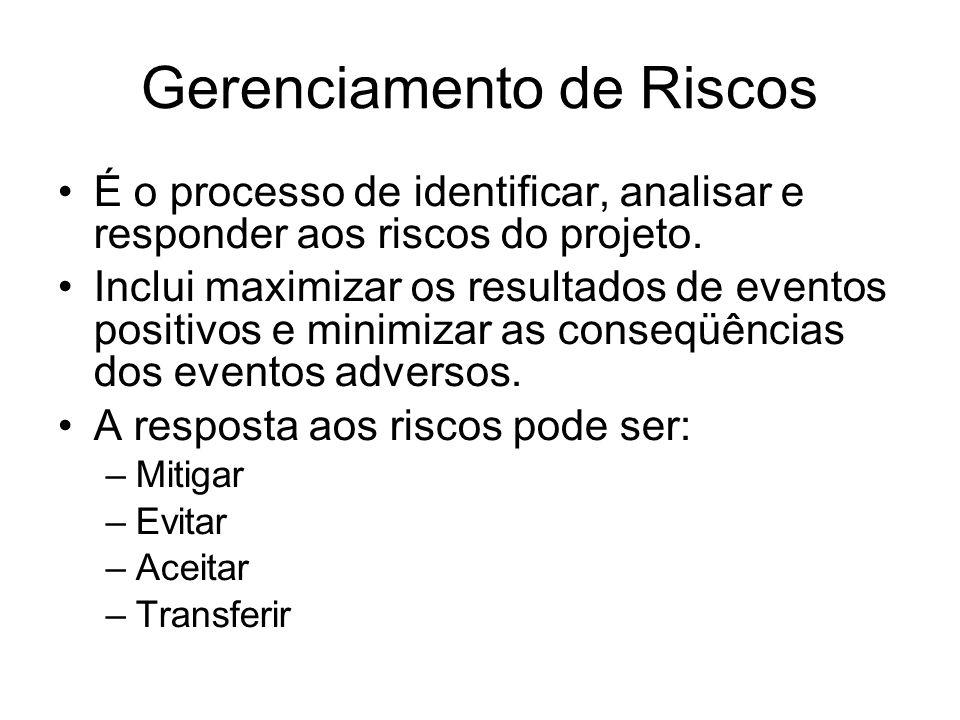 Gerenciamento de Riscos É o processo de identificar, analisar e responder aos riscos do projeto. Inclui maximizar os resultados de eventos positivos e