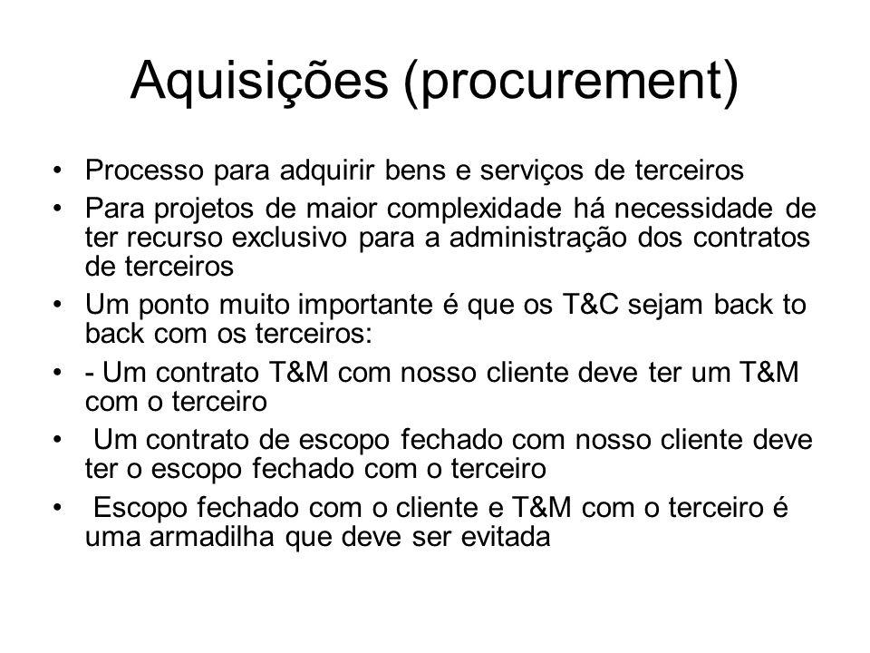 Aquisições (procurement) Processo para adquirir bens e serviços de terceiros Para projetos de maior complexidade há necessidade de ter recurso exclus