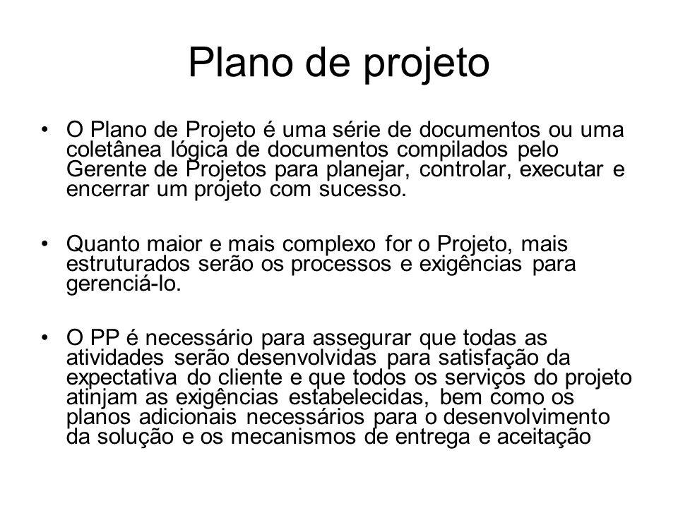 Plano de projeto O Plano de Projeto é uma série de documentos ou uma coletânea lógica de documentos compilados pelo Gerente de Projetos para planejar, controlar, executar e encerrar um projeto com sucesso.