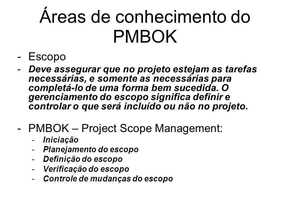 Áreas de conhecimento do PMBOK -Escopo -Deve assegurar que no projeto estejam as tarefas necessárias, e somente as necessárias para completá-lo de uma