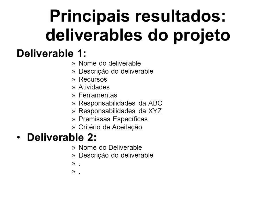 Principais resultados: deliverables do projeto Deliverable 1: »Nome do deliverable »Descrição do deliverable »Recursos »Atividades »Ferramentas »Responsabilidades da ABC »Responsabilidades da XYZ »Premissas Específicas »Critério de Aceitação Deliverable 2: »Nome do Deliverable »Descrição do deliverable ».