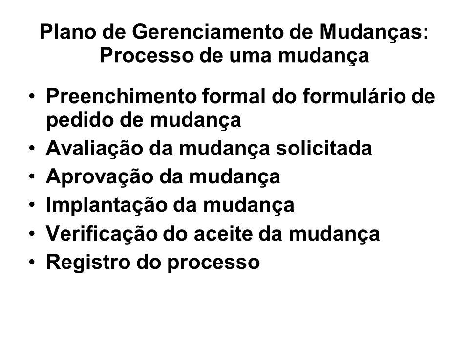 Plano de Gerenciamento de Mudanças: Processo de uma mudança Preenchimento formal do formulário de pedido de mudança Avaliação da mudança solicitada Ap
