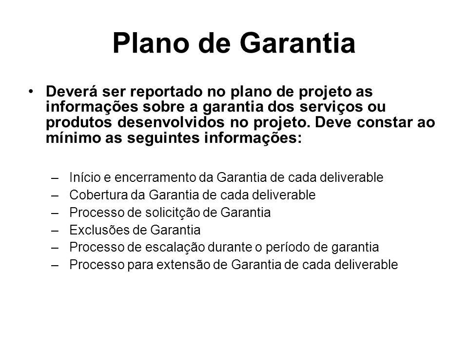 Plano de Garantia Deverá ser reportado no plano de projeto as informações sobre a garantia dos serviços ou produtos desenvolvidos no projeto. Deve con