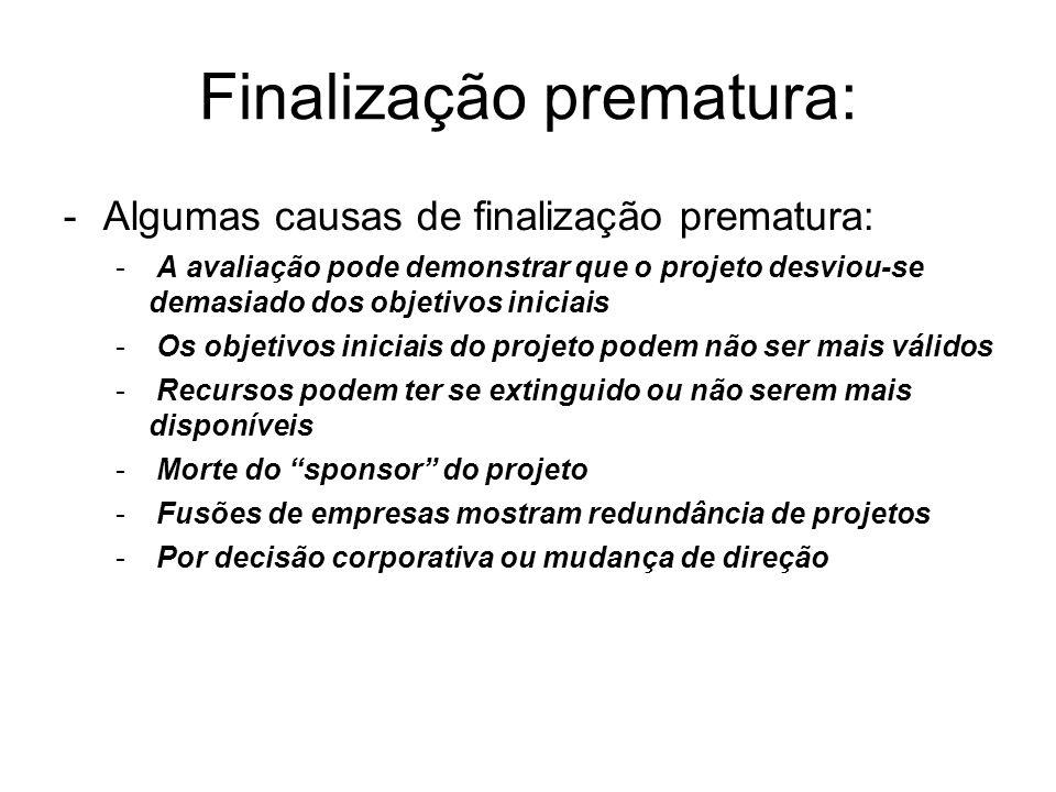 -Algumas causas de finalização prematura: - A avaliação pode demonstrar que o projeto desviou-se demasiado dos objetivos iniciais - Os objetivos inici