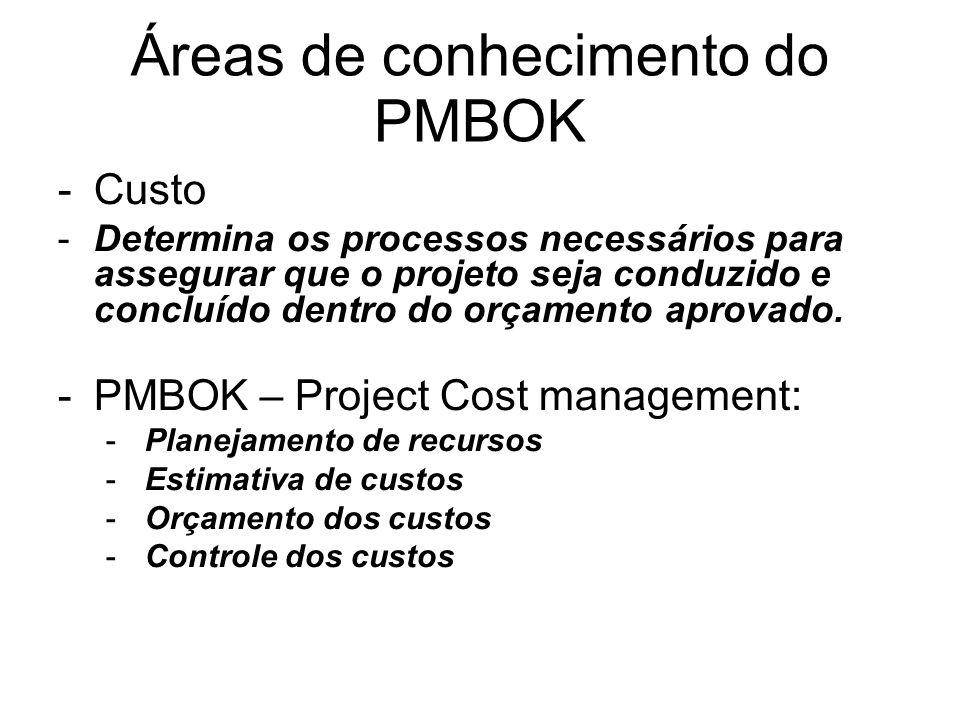 -Custo -Determina os processos necessários para assegurar que o projeto seja conduzido e concluído dentro do orçamento aprovado. -PMBOK – Project Cost