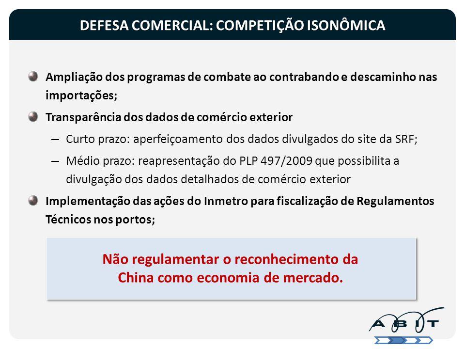 DEFESA COMERCIAL: COMPETIÇÃO ISONÔMICA Ampliação dos programas de combate ao contrabando e descaminho nas importações; Transparência dos dados de comé