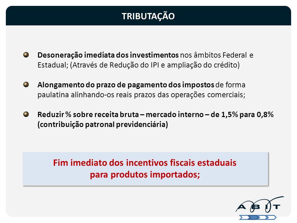 Fim imediato dos incentivos fiscais estaduais para produtos importados; Desoneração imediata dos investimentos nos âmbitos Federal e Estadual; (Atravé
