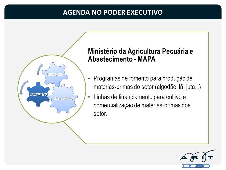 Ministério da Agricultura Pecuária e Abastecimento - MAPA Programas de fomento para produção de matérias-primas do setor (algodão, lã, juta,..) Linhas