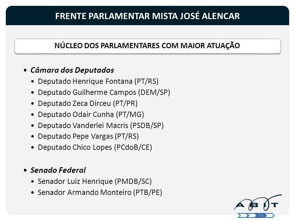 FRENTE PARLAMENTAR MISTA JOSÉ ALENCAR NÚCLEO DOS PARLAMENTARES COM MAIOR ATUAÇÃO Câmara dos Deputados Deputado Henrique Fontana (PT/RS) Deputado Guilh