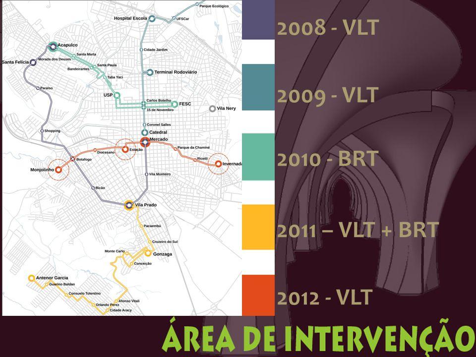 2008 - VLT 2009 - VLT 2010 - BRT 2011 – VLT + BRT 2012 - VLT