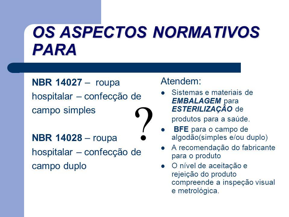 OS ASPECTOS NORMATIVOS PARA NBR 14027 – roupa hospitalar – confecção de campo simples NBR 14028 – roupa hospitalar – confecção de campo duplo Atendem: