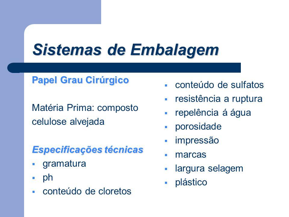 Sistemas de Embalagem Papel Grau Cirúrgico Matéria Prima: composto celulose alvejada Especificações técnicas  gramatura  ph  conteúdo de cloretos 