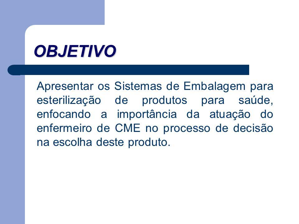 OBJETIVO Apresentar os Sistemas de Embalagem para esterilização de produtos para saúde, enfocando a importância da atuação do enfermeiro de CME no pro