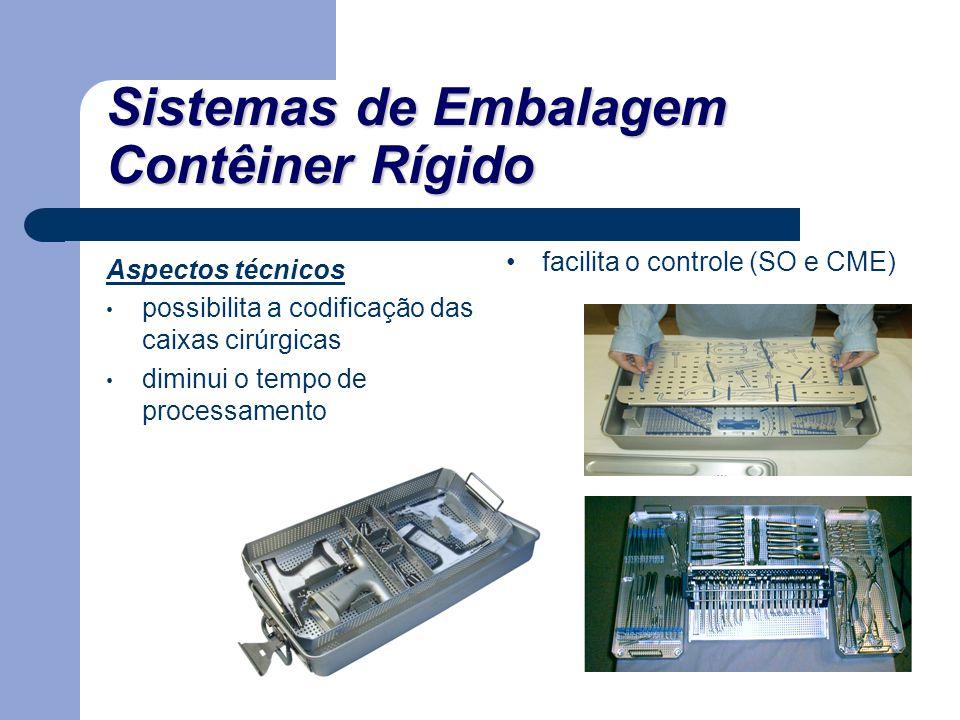 Sistemas de Embalagem Contêiner Rígido Aspectos técnicos possibilita a codificação das caixas cirúrgicas diminui o tempo de processamento facilita o c