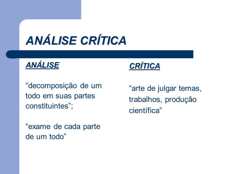 """ANÁLISE CRÍTICA ANÁLISE """"decomposição de um todo em suas partes constituintes""""; """"exame de cada parte de um todo"""" CRÍTICA """"arte de julgar temas, trabal"""