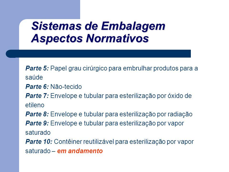Sistemas de Embalagem Aspectos Normativos Parte 5: Papel grau cirúrgico para embrulhar produtos para a saúde Parte 6: Não-tecido Parte 7: Envelope e t