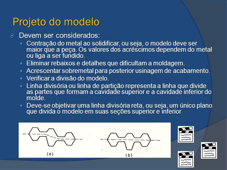 Projeto do modelo  Devem ser considerados: Contração do metal ao solidificar, ou seja, o modelo deve ser maior que a peça. Os valores dos acréscimos