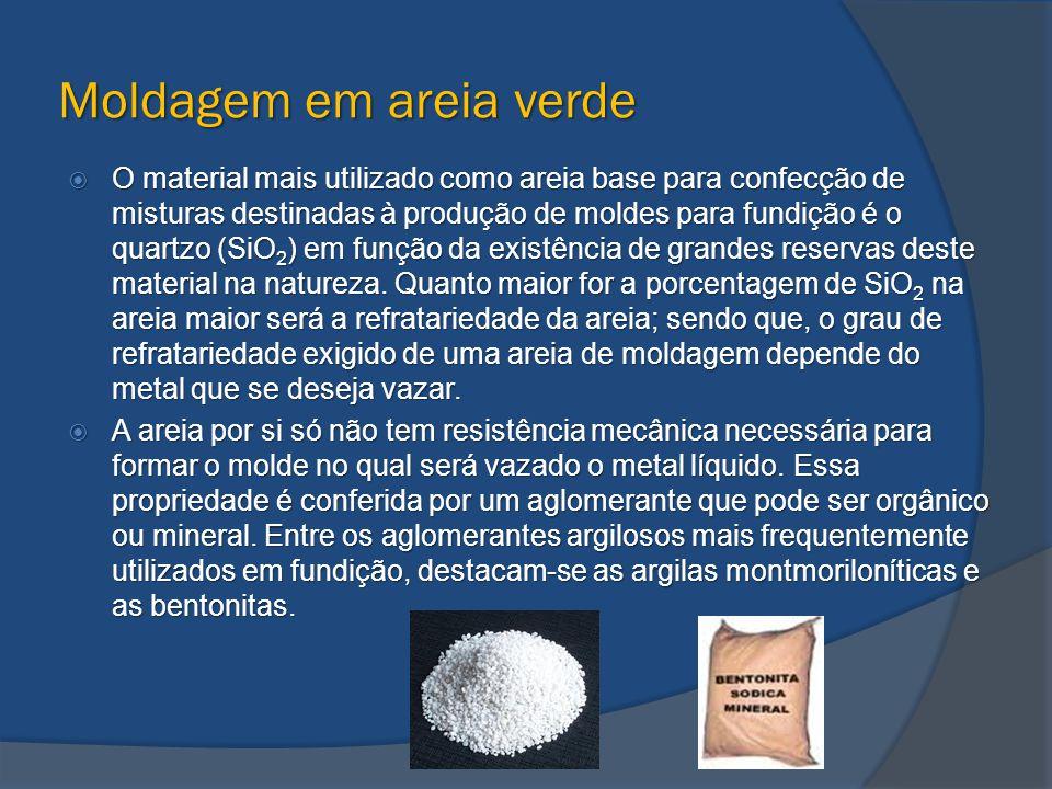 Moldagem em areia verde  O material mais utilizado como areia base para confecção de misturas destinadas à produção de moldes para fundição é o quart