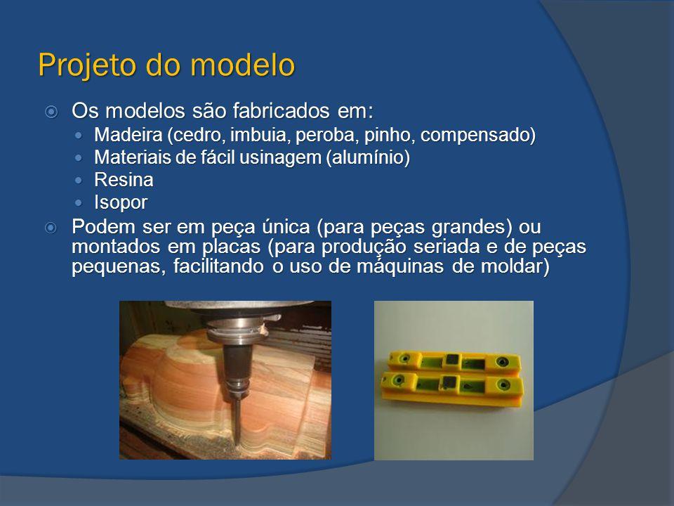 Projeto do modelo  Devem ser considerados: Contração do metal ao solidificar, ou seja, o modelo deve ser maior que a peça.
