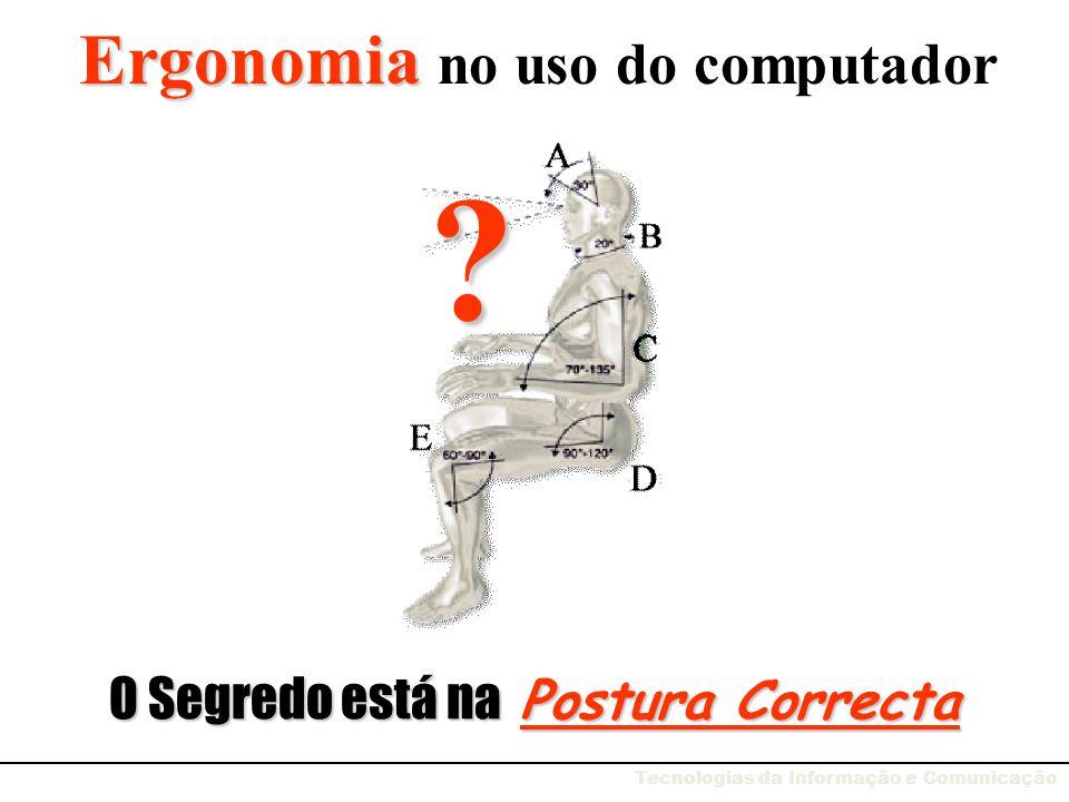 Ergonomia aplicada à Informática Saber estar de maneira ergonómica Postura correcta na cadeira Equipamento ergonómico Iluminação certa Tecnologias da Informação e Comunicação