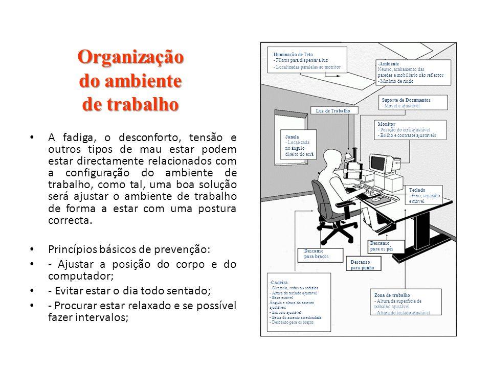 Organização do ambiente de trabalho A fadiga, o desconforto, tensão e outros tipos de mau estar podem estar directamente relacionados com a configuraç